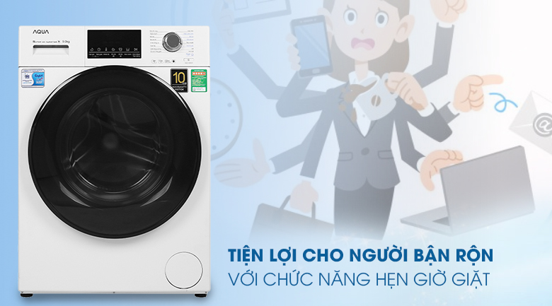 Máy giặt Aqua Inverter 9 kg AQD-D900F W - Hẹn giờ giặt