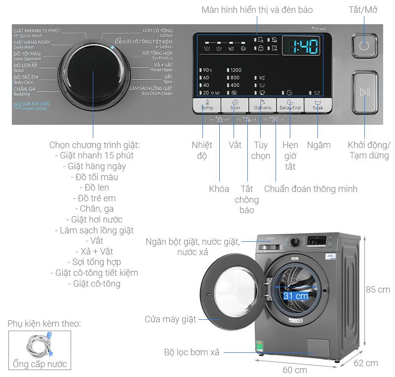 Thông số kỹ thuật Máy giặt Samsung Inverter 9.5 kg WW95J42G0BX/SV
