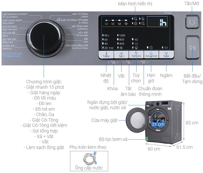 Thông số kỹ thuật Máy giặt Samsung Inverter 8.5 kg WW85J42G0BX/SV