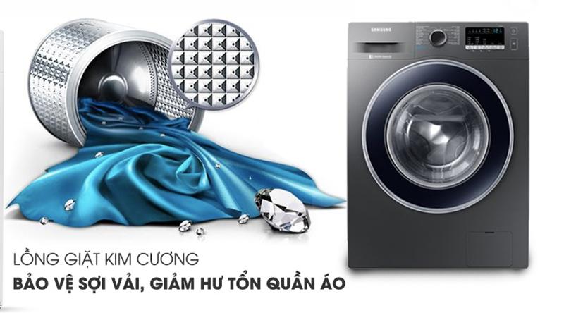 Máy giặt Samsung Inverter 8.5 kg WW85J42G0BX/SV-Nâng cao hiệu quả giặt sạch, giảm thiểu hư tổn quần áo với lồng giặt kim cương