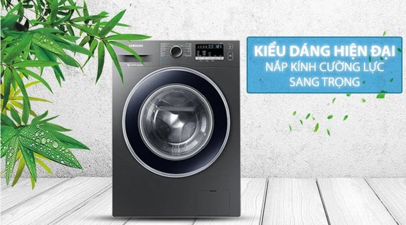 Máy giặt Samsung Inverter 8.5 kg WW85J42G0BX/SV-Kiểu dáng hiện đại, nắp máy làm bằng kính cường lực sang trọng