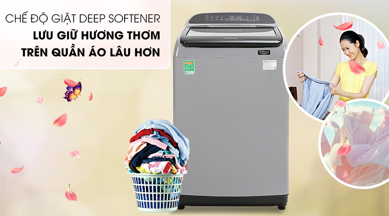 Máy giặt Samsung Inverter 8.5 kg WA85T5160BY/SV-Quần áo thơm lâu với chế độ giặt lưu hương
