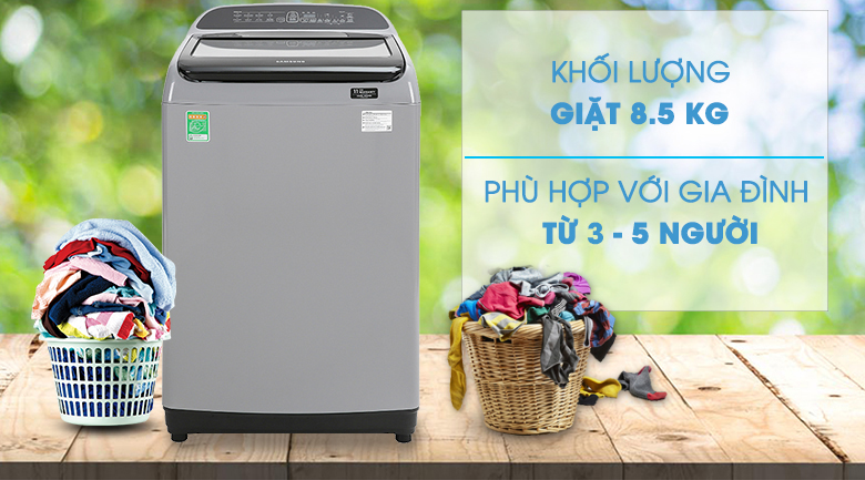 Máy giặt Samsung Inverter 8.5 kg WA85T5160BY/SV-Khối lượng giặt 8.5kg, phù hợp gia đình 3 - 5 người
