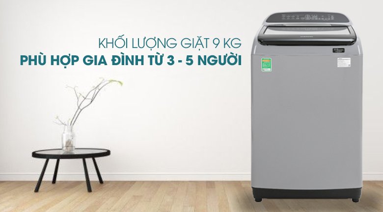 Máy giặt Samsung Inverter 9 kg WA90T5260BY/SV - Khối lượng