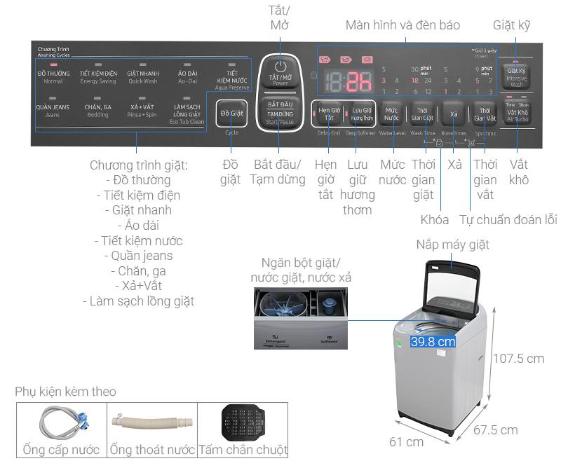 Thông số kỹ thuật Máy giặt Samsung Inverter 10 kg WA10T5260BY/SV