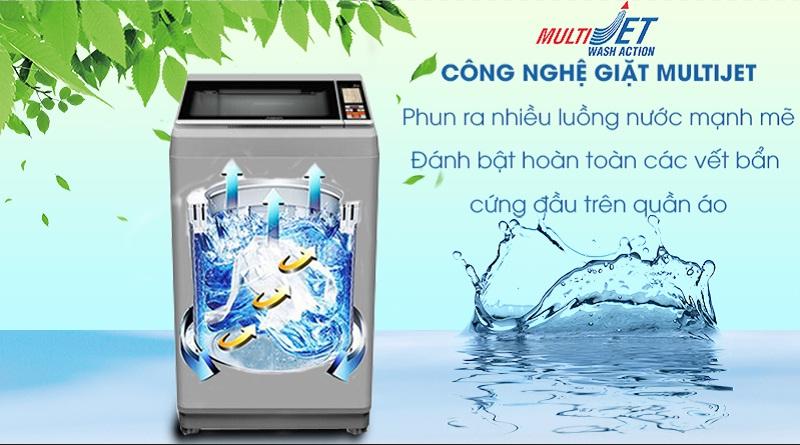 Máy giặt Aqua 8.5 Kg AQW-S85FT.N-Hòa tan bột giặt nhanh chóng, loại bỏ vết bẩn tối ưu nhờ công nghệ Multi Jet