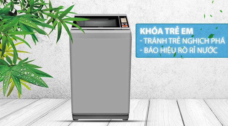 Máy giặt Aqua 8.5 Kg AQW-S85FT.N-Báo hiệu nước tràn ra ngoài nhờ tính năng khóa trẻ em