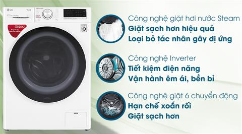 Máy giặt LG Inverter 8.5 kg FV1408S4W - giá tốt, có trả góp