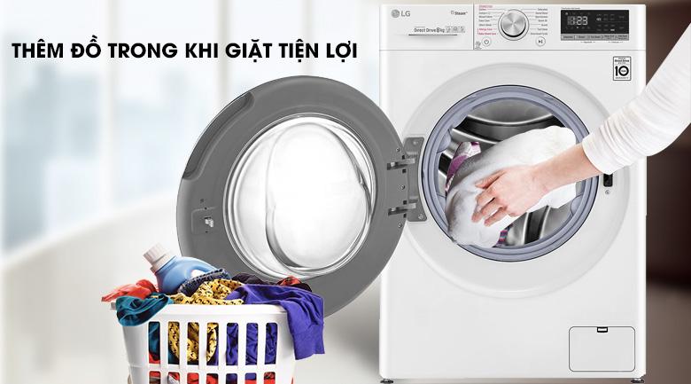 Máy giặt LG Inverter 8.5 kg FV1408S4W | Thêm đồ khi giặt