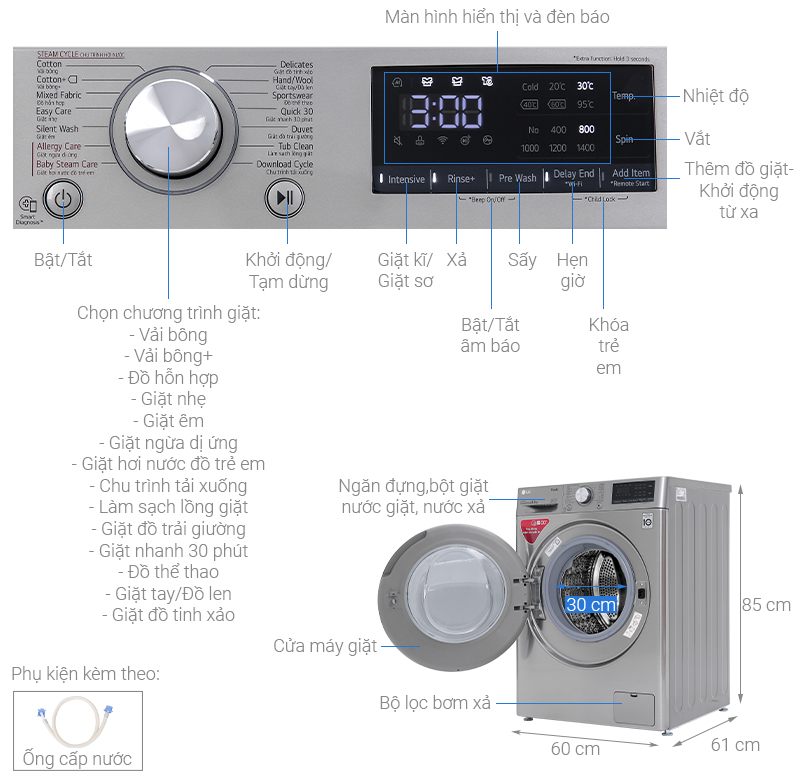 Thông số kỹ thuật Máy giặt LG Inverter 8.5 kg  FV1408S4V