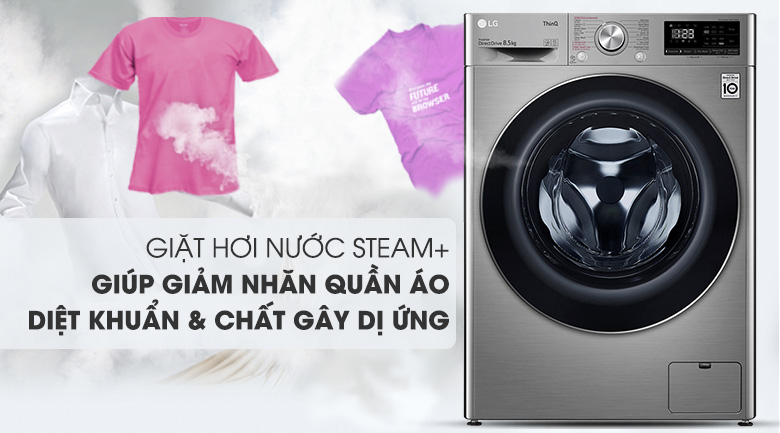 Máy giặt LG Inverter 8.5 kg FV1408S4V | Giảm nhăn và kháng khuẩn