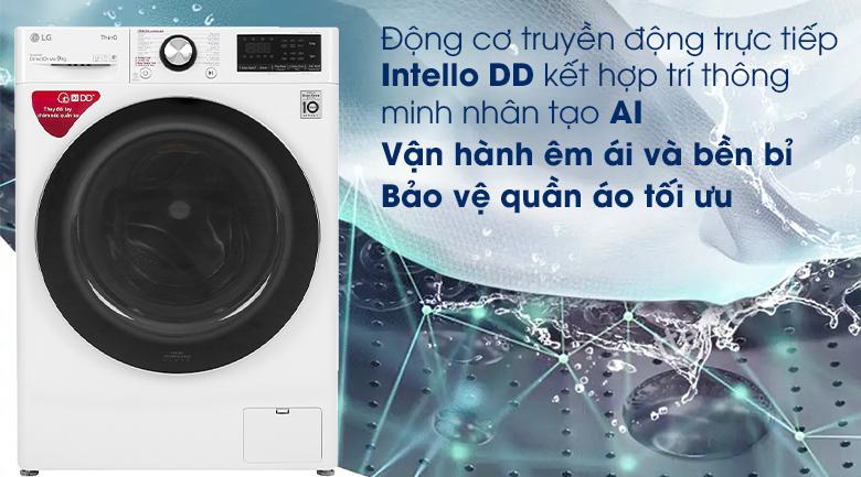 Máy giặt LG Inverter 9 kg FV1409S2W - Động cơ truyền động trực tiếp Intello DD kết hợp trí thông minh nhân tạo AI