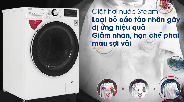 Máy giặt LG Inverter 9 kg FV1409S2W - Giặt hơi nước Steam