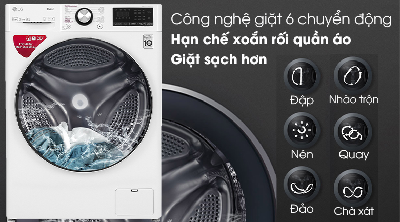 Máy giặt LG Inverter 9 kg FV1409S2W - Công nghệ giặt 6 chuyển động