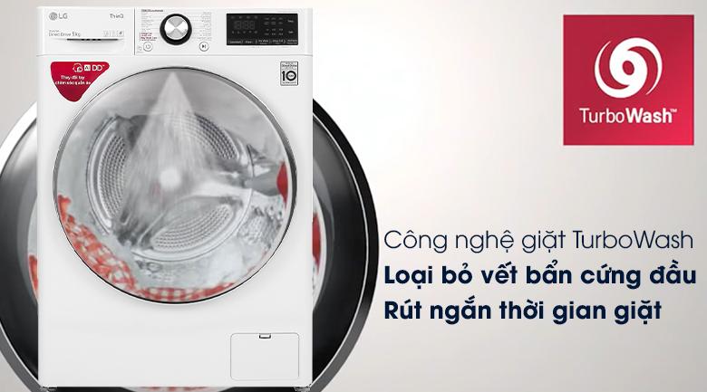 Máy giặt LG Inverter 9 kg FV1409S2W - Công nghệ giặt TurboWash