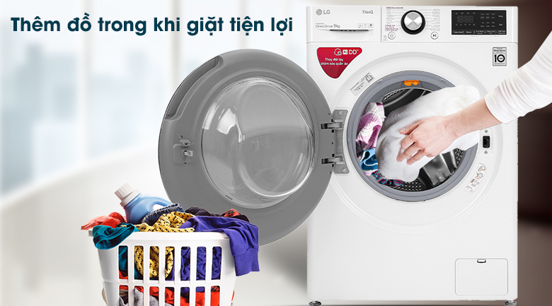 Máy giặt LG Inverter 9 kg FV1409S2W - Thêm đồ trong khi giặt tiện lợi