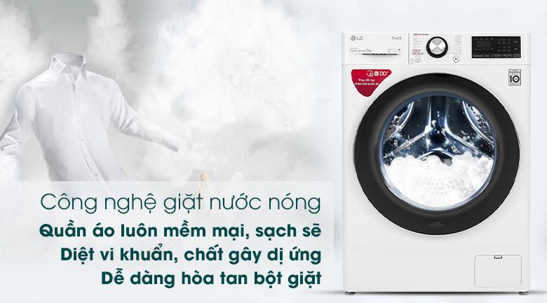Máy giặt LG Inverter 9 kg FV1409S2W - Công nghệ giặt nước nóng