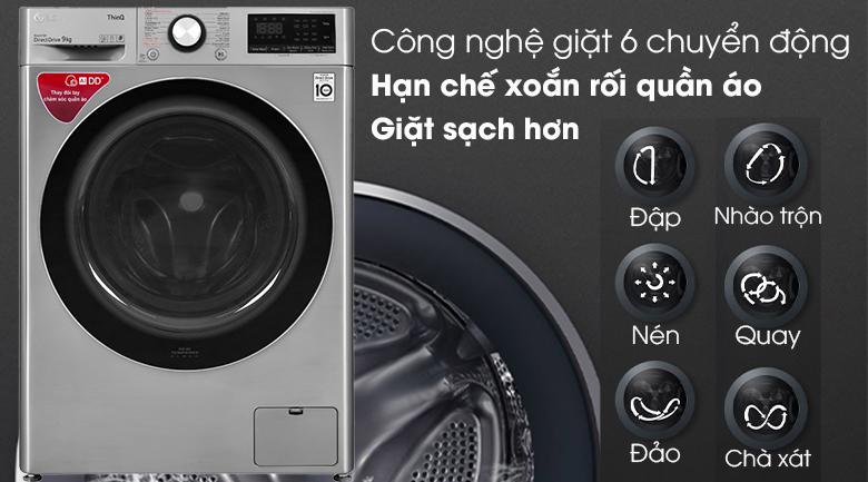 Máy giặt LG Inverter 9 kg FV1409S2V - Công nghệ giặt 6 chuyển động