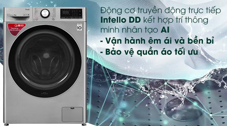 Máy giặt LG Inverter 9 kg FV1409S2V - Động cơ truyền động trực tiếp Intello DD kết hợp trí thông minh nhân tạo AI