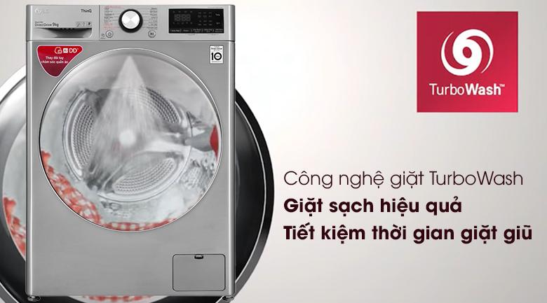 Máy giặt LG Inverter 9 kg FV1409S2V - Công nghệ giặt TurboWash