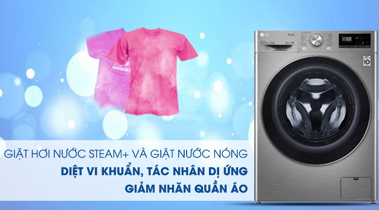 Máy giặt LG Inverter 9 kg FV1409S2V - Giặt nước nóng