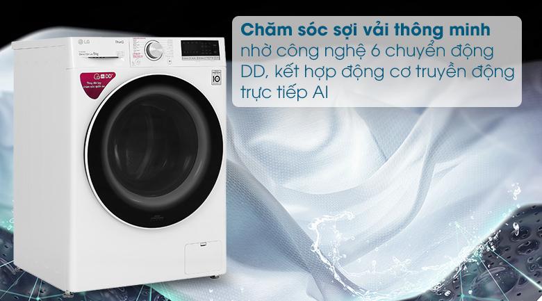 Máy giặt LG Inverter 9 kg FV1409S4W - Công nghệ 6 chuyển động DD và AI