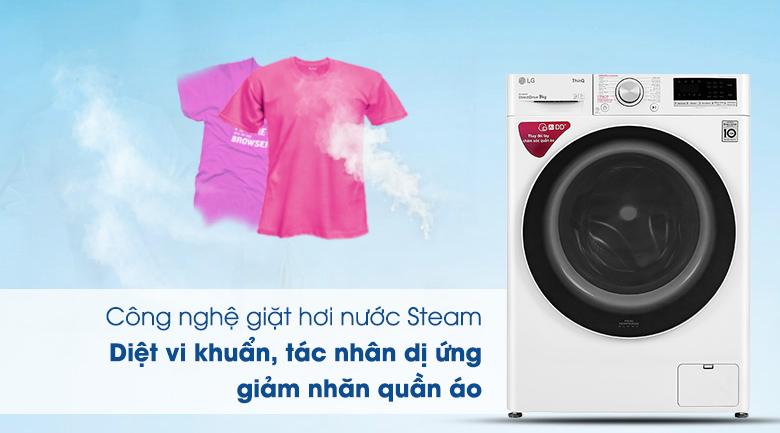 Máy giặt LG Inverter 9 kg FV1409S4W - Công nghệ giặt hơi nước Steam