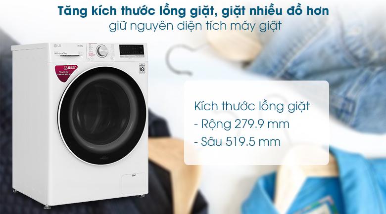 Máy giặt LG Inverter 9 kg FV1409S4W - Tăng kích thước lồng giặt