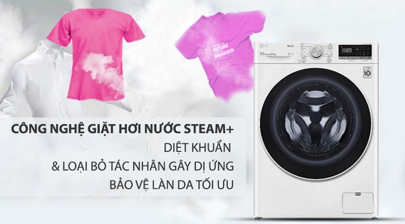 Máy giặt LG Inverter 9 kg FV1409S4W-Bảo vệ làn da, loại bỏ các tác nhân gây dị ứng với công nghệ giặt hơi nước Steam+