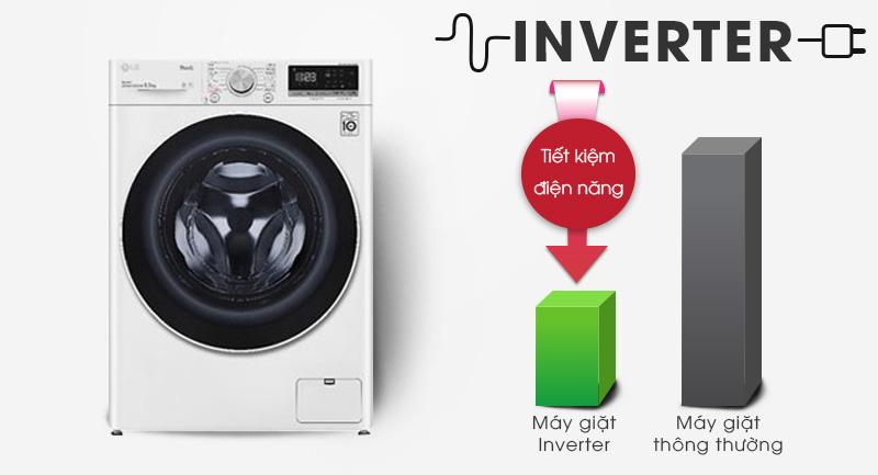 Máy giặt LG Inverter 9 kg FV1409S4W-Tiết kiệm điện hiệu quả với công nghệ Inverter