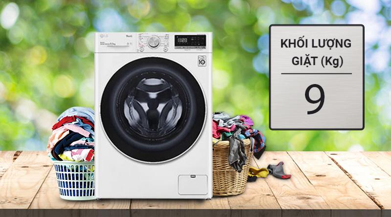 Máy giặt LG Inverter 9 kg FV1409S4W-Khối lượng giặt 9kg, phù hợp cho gia đình trên 6 người