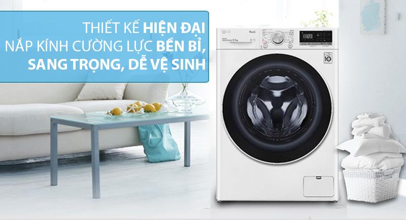 Máy giặt LG Inverter 9 kg FV1409S4W-Kiểu máy giặt lồng ngang hiện đại, nắp kính chịu lực sang trọng, dễ vệ sinh