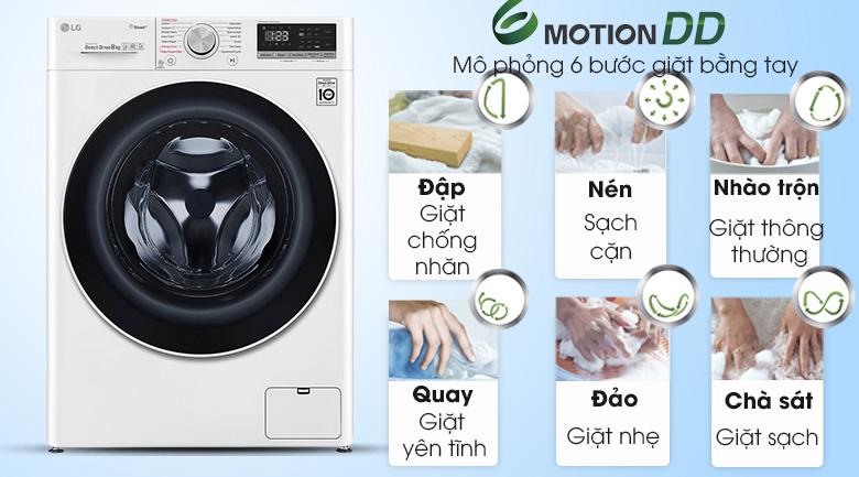 Máy giặt sấy LG Inverter 8.5 kg FV1408G4W | Giặt 6 chuyển động