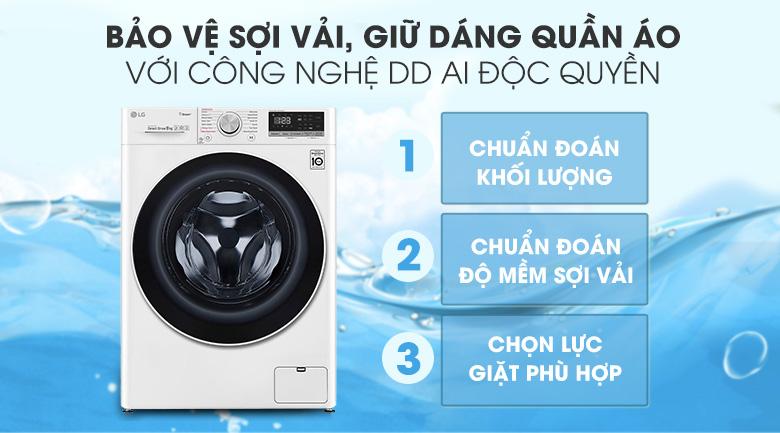 Máy giặt sấy LG Inverter 8.5 kg FV1408G4W | Ứng dụng AI