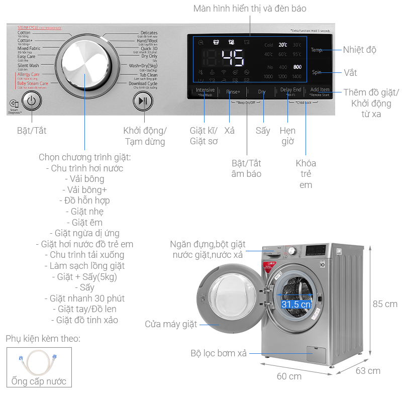 Thông số kỹ thuật Máy giặt sấy LG Inverter 9 kg FV1409G4V