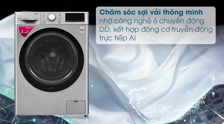 Máy giặt sấy LG Inverter 9 kg FV1409G4V - Công nghệ 6 chuyển động DD kết hợp trí thông minh nhân tạo AI