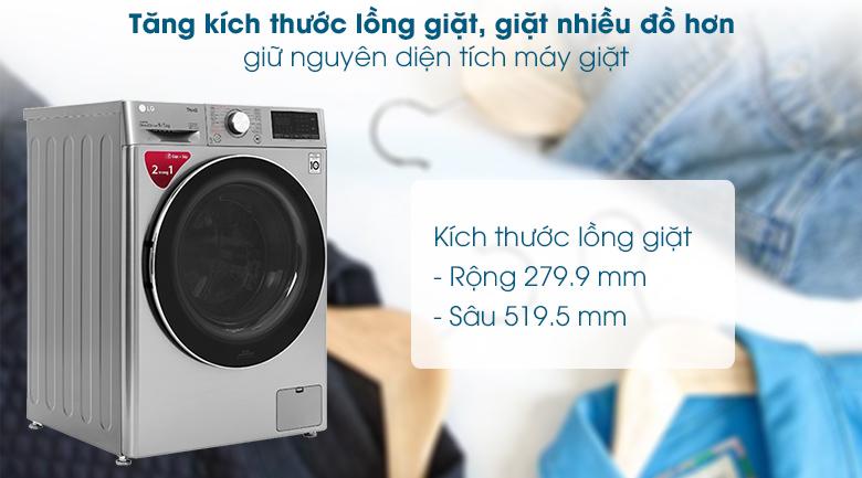 Máy giặt sấy LG Inverter 9 kg FV1409G4V - Tăng kích thước lồng giặt