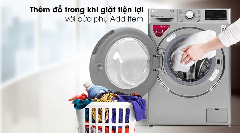 Máy giặt sấy LG Inverter 9 kg FV1409G4V - Thêm đồ trong khi giặt