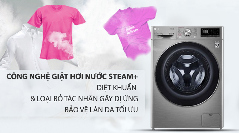 Máy giặt sấy LG Inverter 9 kg FV1409G4V-Bảo vệ làn da, loại bỏ các tác nhân gây dị ứng với công nghệ giặt hơi nước Steam+