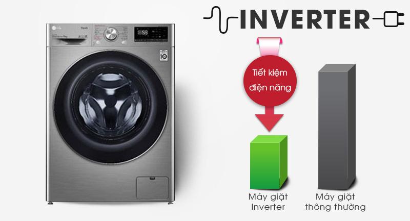 Máy giặt sấy LG Inverter 9 kg FV1409G4V-Tiết kiệm điện tối ưu với công nghệ Inverter