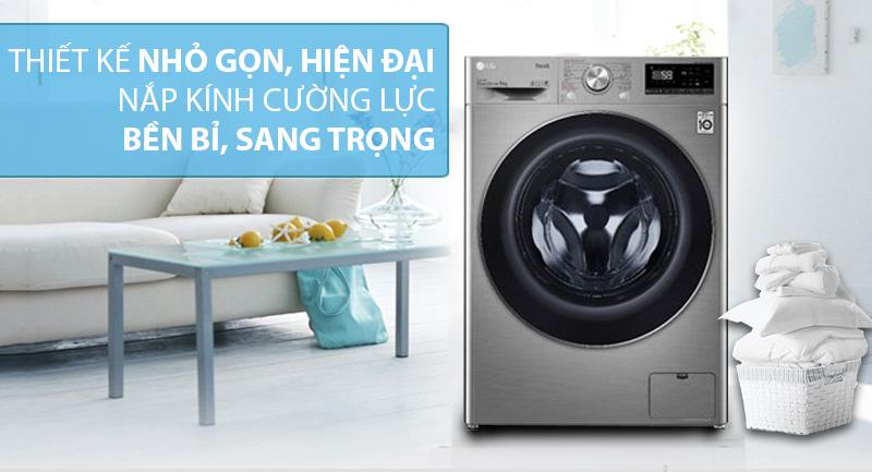 Máy giặt sấy LG Inverter 9 kg FV1409G4V-Thiết kế nhỏ gọn, hiện đại với kiểu máy giặt lồng ngang và nắp kính chịu lực sang trọng, dễ vệ sinh