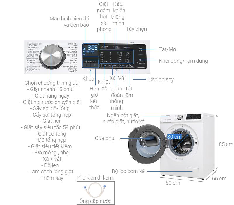 Thông số kỹ thuật Máy giặt sấy Samsung AddWash Inverter 10.5 kg WD10N64FR2W/SV