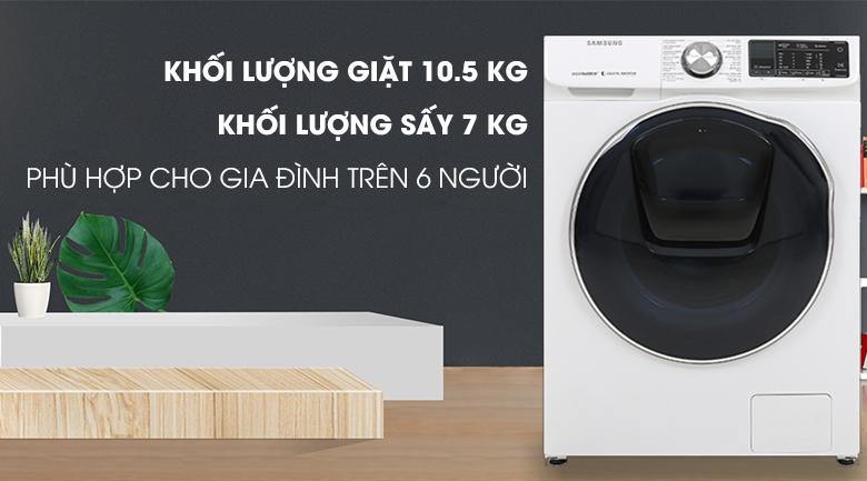 Máy giặt sấy Samsung AddWash Inverter 10.5 kg WD10N64FR2W/SV - Giặt sấy tích hợp