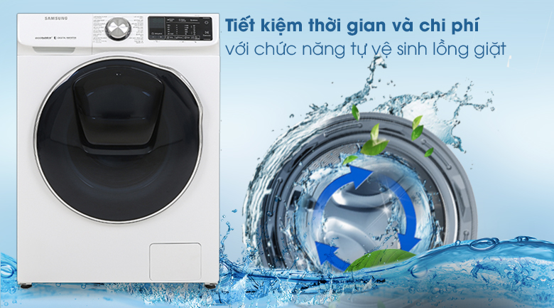 Máy giặt sấy Samsung AddWash Inverter 10.5 kg WD10N64FR2W/SV - Tự vệ sinh lồng giặt