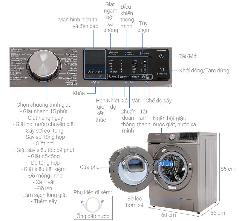 Thông số kỹ thuật Máy giặt sấy Samsung AddWash Inverter 10.5 kg WD10N64FR2X/SV