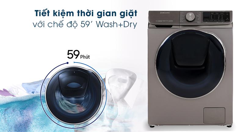 Máy giặt sấy Samsung AddWash Inverter 10.5 kg WD10N64FR2X/SV - chế độ giặt sấy nhanh 59 phút