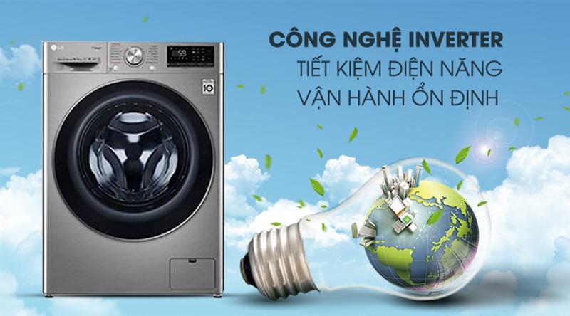 Máy giặt LG Inverter 10.5 kg FV1450S3V-Tiết kiệm điện hiệu quả nhờ công nghệ Inverter