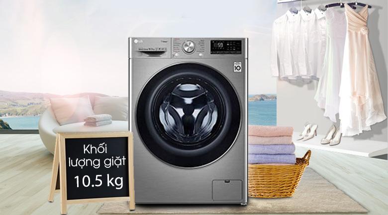 Máy giặt LG Inverter 10.5 kg FV1450S3V-Khối lượng giặt 10.5kg, phù hợp gia đình đông người (trên 6 người)