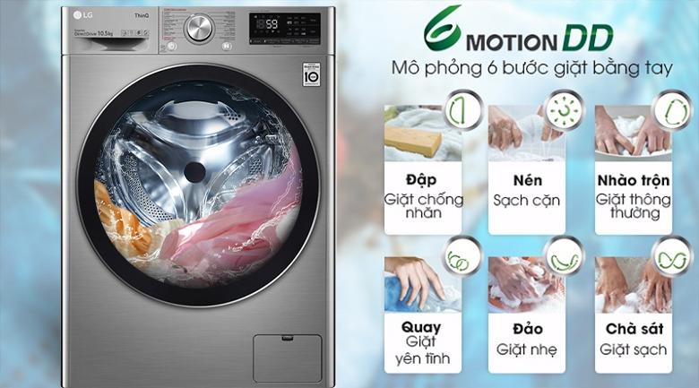 Máy giặt LG Inverter 10.5 kg FV1450S3V-Giảm hư tổn sợi vải, bảo vệ quần áo tối ưu cùng công nghệ 6 Motion DD