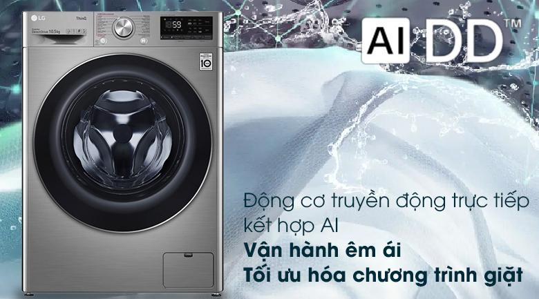 Máy giặt LG FV1450S3V vận hành êm ái nhờ động cơ truyền động trực tiếp kết hợp AI